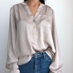 The Limited shiny silky ivory draped blouse XL